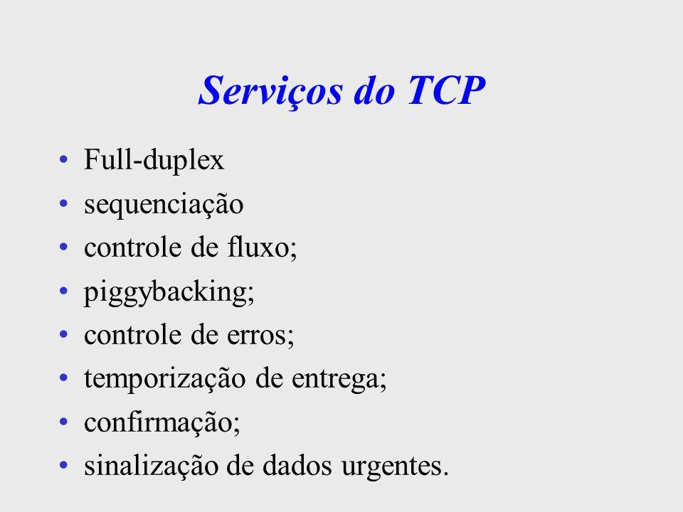 UDP - User Datagram Protocol protocolo de transporte mais simples opera no modo s/ conexão oferece um serviço de datagrama não confiável é uma simples extensão do protocolo IP foi desenvolvido p/ aplicações que não geram volume muito alto de tráfego na Internet não utiliza mecanismos de reconhecimento