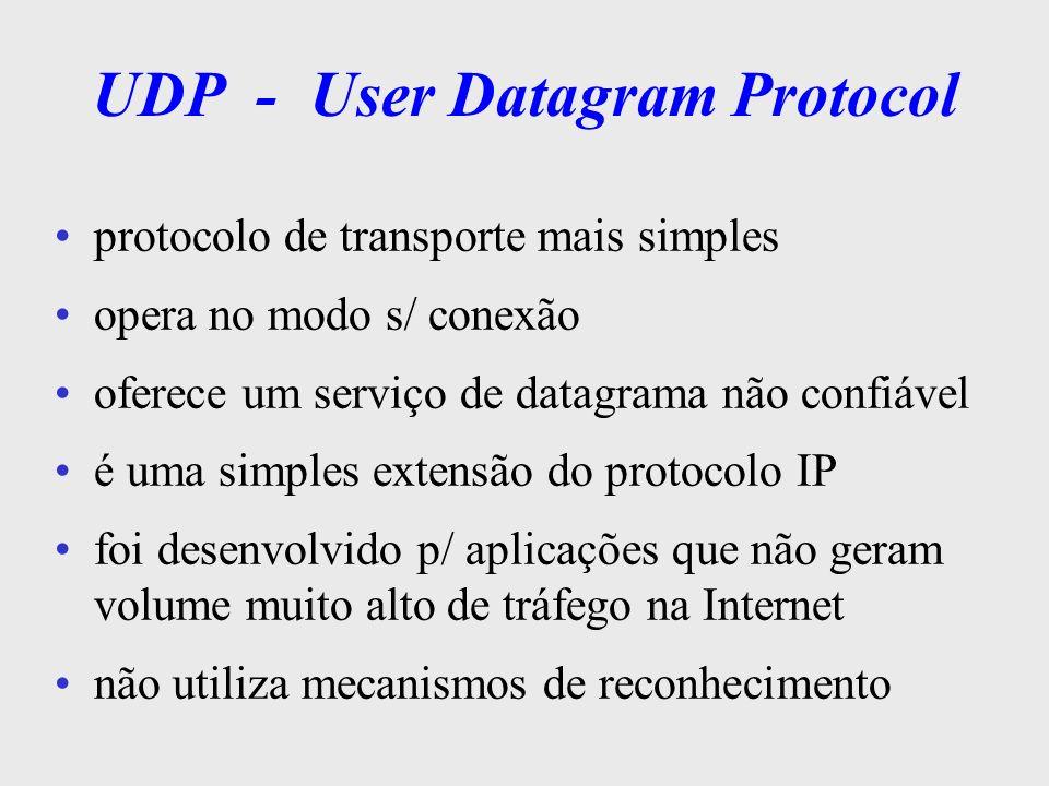 UDP - User Datagram Protocol não assegura que as msg s transmitidas chegam ao destino não faz ordenação e controle de fluxo a aplicação que utiliza o UDP deve tratar a falta de confiabilidade como IP, só implementa checksum (opcional) p/ o seu próprio header aplicações SNMP, DNS, BOOTP usam UDP