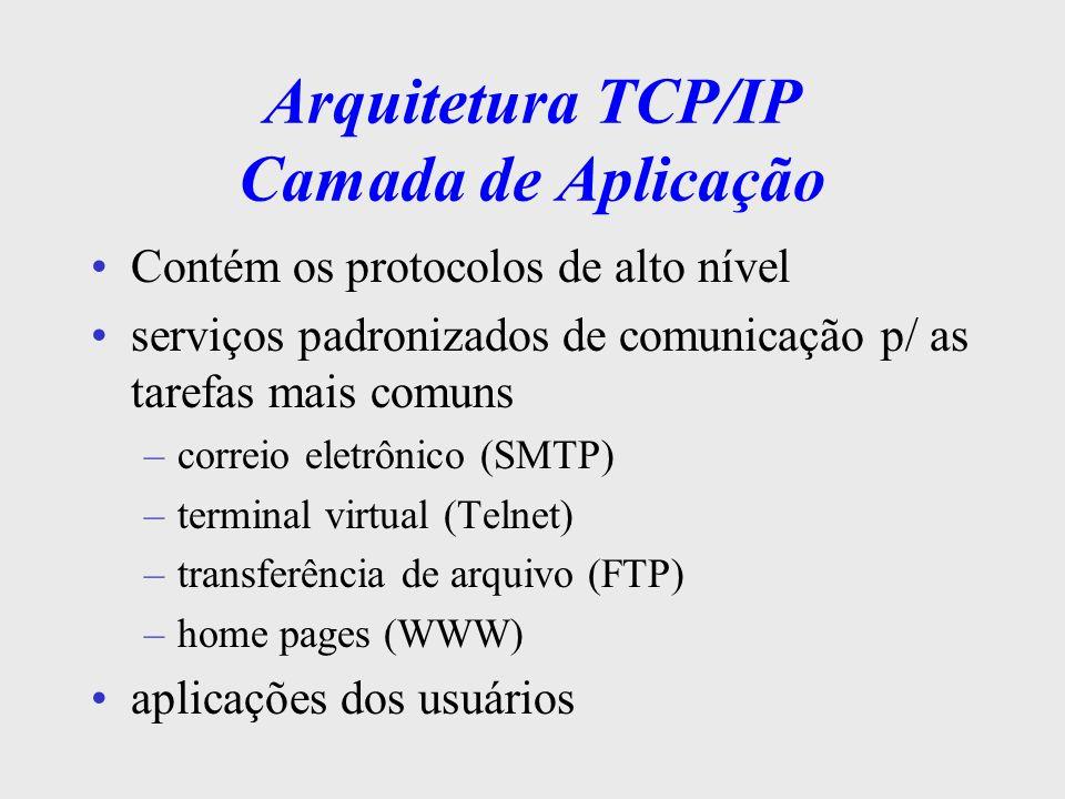 Arquitetura TCP/IP Camada de Transporte Comunicação fim a fim entre aplicações oferece dois tipos de serviços: –confiável c/ o protocolo TCP (controle de erros, controle de fluxo, multiplexação, seqüenciação, etc.) –não-confiável c/ o protocolo UDP (User Datagram Protocol) ( multiplexação e desmultiplexação ) voltado p/ aplicações c/ entrega imediata ex.