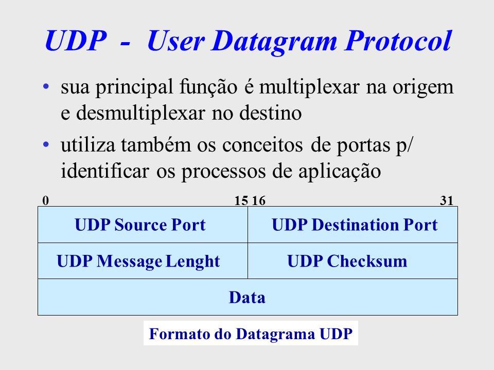 O Nível de Aplicação Arquitetura TCP/IP aplicações são implementadas de forma isolada não existe um padrão que defina como deve ser estruturada aplicações trocam dados utilizando diretamente a camada de transporte ( TCP ou UDP ) através de chamadas padronizadas API - Application Program Interface –Berkeley Sockets –TLI (System V)