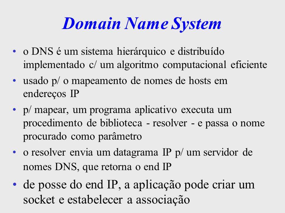 Domain Name System define a sintaxe dos nomes usados na Internet nomes das máquinas são divididos em partes separadas por pontos: lua.climerh.rct-sc.br cada parte corresponde a um domínio de autoridade o 1 o nome lua corresponde ao nível mais baixo o último br corresponde ao nível mais alto na hierarquia, cujo o domínio de autoridade é do próprio NIC