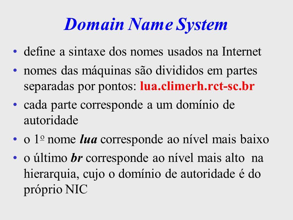 Domain Name System Hierarquia de Nomes br arpa com edu gov mil org RAIZ uk au com govrnp rct-sc