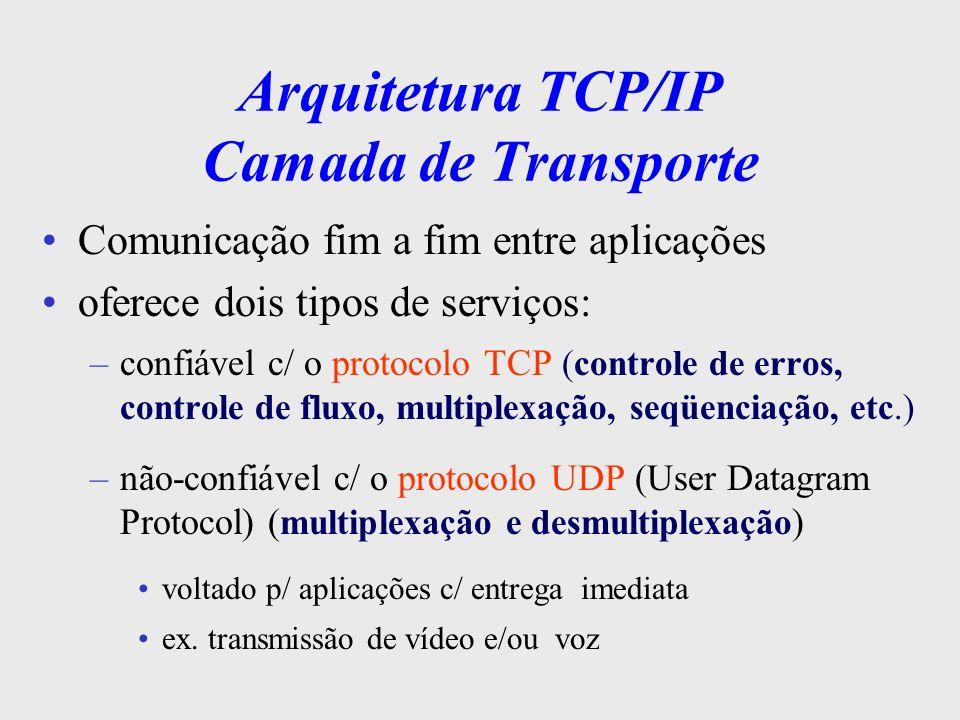 Arquitetura TCP/IP Camada Inter-Rede Responsável pela transferência de dados da máquina origem à máquina destino faz roteamento, comutação de pacotes não-orientado a conexão, serviço não confiável simples, apenas entrega de pacotes além do IP, faz uso de outros protocolos p/ controle: ICMP, ARP, RARP, BOOTP, etc