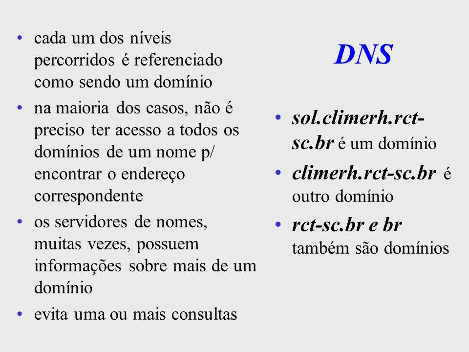 Otimização do DNS aplicações normalmente têm acesso ao DNS local DNS local pode ser implementado p/ guardar os últimos acessos feitos e assim resolver consultas locais esta abordagem simplifica e otimiza, evitando que executem buscas na árvore de domínios DNS, além do serviço de nomes, contém também as propriedades do ambiente (tipo da maq, protocols, serviços, etc)