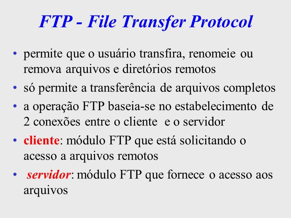 FTP conexão de controle: usada na transferência de comandos conexão de dados: usada p/ a transferência de dados TCP/IP Cliente FTP Processo Transf.