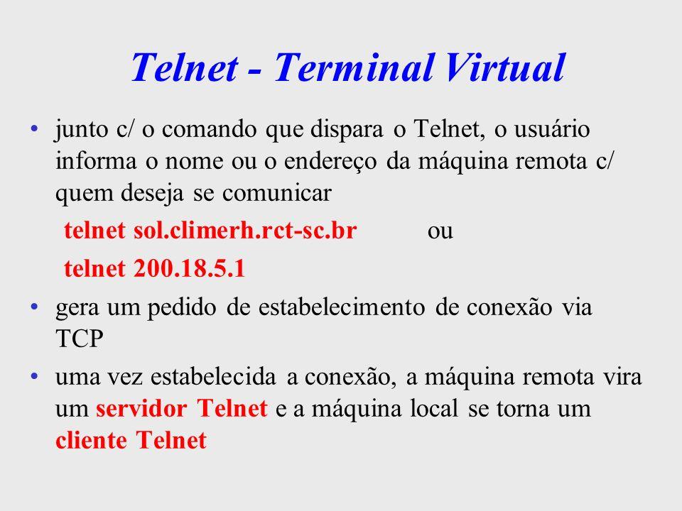 Telnet - Terminal Virtual TCP/IP Cliente TELNETServidor TELNET Sistema Operacional Teclas pressionadas Atualizações no vídeo Envia teclas pressionadas e recebe as atualizações p/ vídeo