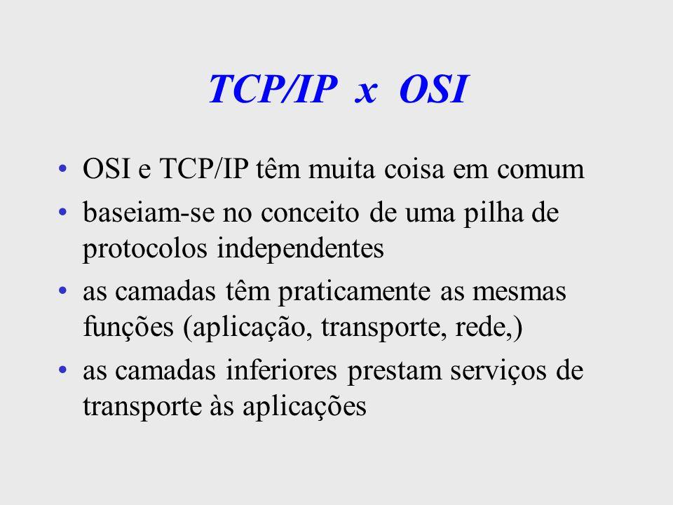 TCP/IP x OSI Diferenças TCP/IP padrão de facto e OSI padrão de jure TCP/IP não distingue claramente serviços, interfaces e protocolos TCP/IP não trata os níveis de enlace e físico camada de rede OSI aceita serviço orientado e não- orientado a conexão camada de rede TCP/IP é não-orientado a conexão