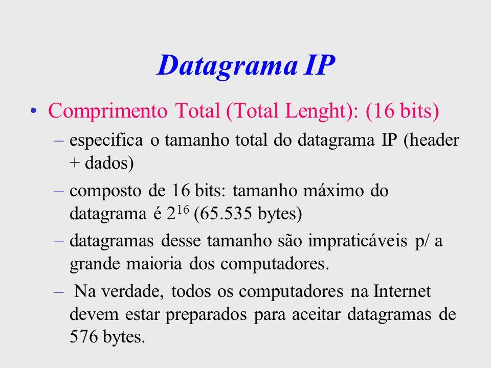 Datagrama IP Identificação, Flags e Offset de Fragemento: estes 3 campos estão relacionados ao serviço de fragmentação Tempo de vida ( 8 bits ): indica o tempo máximo que o datagrama pode trafegar na rede este tempo é decrementado em cada gateway de acordo c/ o tempo gasto p/ processá-lo quando o campo atinge valor = 0 seg, o datagrama é descartado (evita loop infinito)