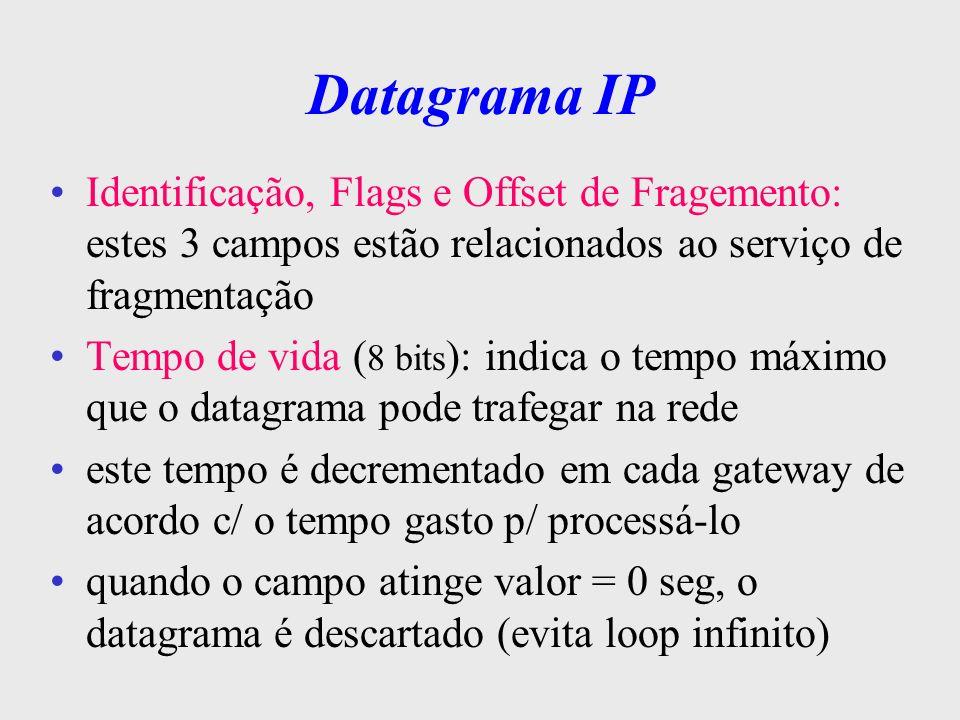 Datagrama IP Protocolo (8 bits): indica o protocolo do nível superior ( TCP ou UDP ) que tratou os dados alocados no campo data do datagrama IP Checksum (16 bits): é utilizado p/ garantir a integridade dos dados que constituem o cabeçalho do datagrama, cabe ao nível de transporte garantir a integridade dos dados Endereço Origem e Destino (32 bits): identifica a fonte e o destino
