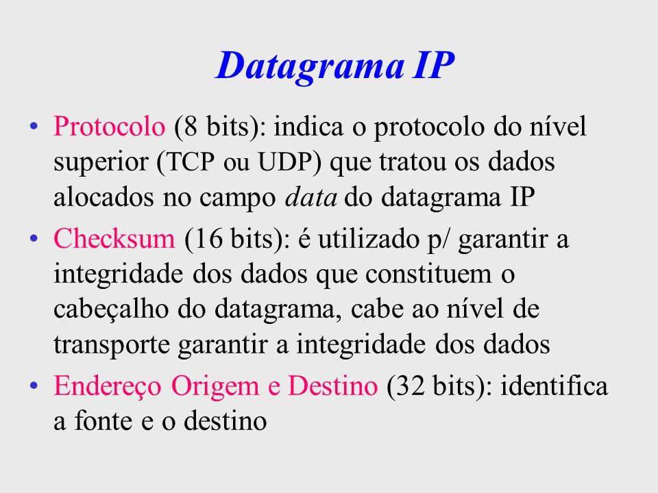 Datagrama IP Opções: tamanho variável e não é obrigatório –pode conter nenhuma ou várias opções –mas seu processamento deve ser executado por qualquer máquina IP que detecte sua presença –o campo é dividido em duas partes: classe (controle, indicação de erros, medição e testes) n o da opção (identificam as funções auxiliares) padding: ( tamanho variável ) usado p/ garantir que o comprimento do cabeçalho do datagrama seja sempre múltiplo inteiro de 32 bits