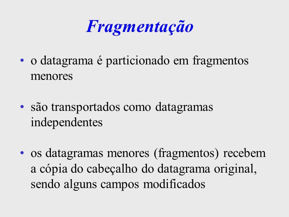 Campos de Fragmentação os campos identificação, fragment offset e flag são usados na montagem dos fragmentos identificação (16 bits): contém o n o que identifica o datagrama –este campo é copiado nos headers dos fragmentos p/ permitir ao destinatário saber a qual datagrama original pertencem os fragmentos
