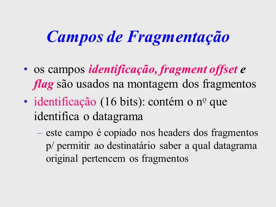 Campos de Fragmentação fragment offset (13 bits): –indica a posição do fragmento no datagrama original, numerando a partir do 0 (zero) –um datagrama original de 1400 octetos, segmentado em 3 partes: 1 a ) fragment offset = 0; 2 a ) fragment offset = 600; 3 a ) fragment offset = 1200;