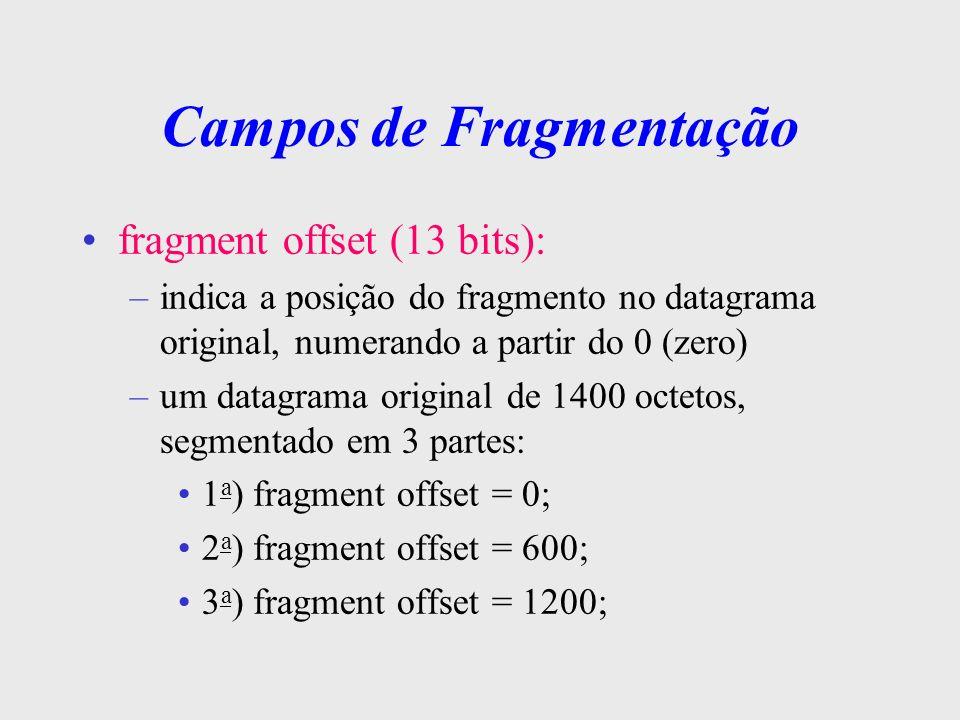 Campos de Fragmentação flags ( 3 bits ): cada um com uma função específica –1 o bit (DF - dont fragment ): quando setado, significa que o datagrama não pode ser fragmentado –2 o bit (MF - more fragments): setado significa que existem mais fragmentos