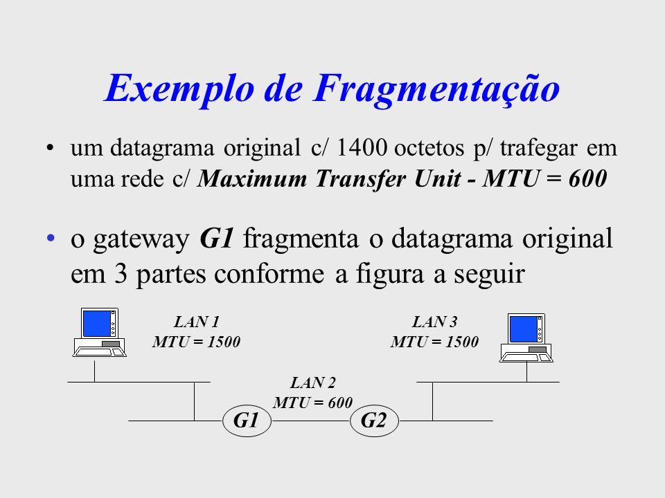 Exemplo de Fragmentação header dados dados dados IP 600 octetos 600 octetos 600 octetos header dados IP 600 octetos header dados IP 600 octetos header dados IP 600 octetos 2 o fragmento (offset 600) MF = 1 3 o fragmento (offset 1200) MF = 0 1 o fragmento (offset 0) MF = 1