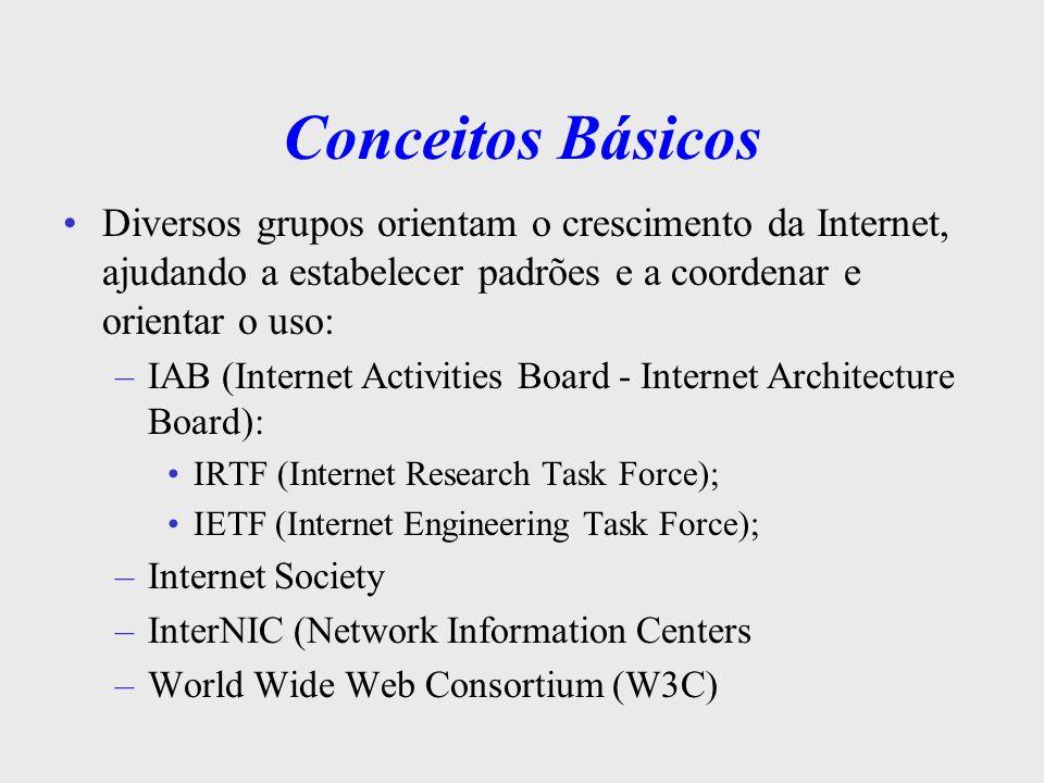 Conceitos Básicos RFCs As publicações oficiais da Internet são feitas através de RFCs - Request for Comments: –IPRFC 791 –IP SubredeRFC 950 –ICMPRFC 792 –ARPRFC 829 –TelnetRFC 854 e muitas outras –SNMPRFC 1155, 1156, 1157, 1213 (e outras)