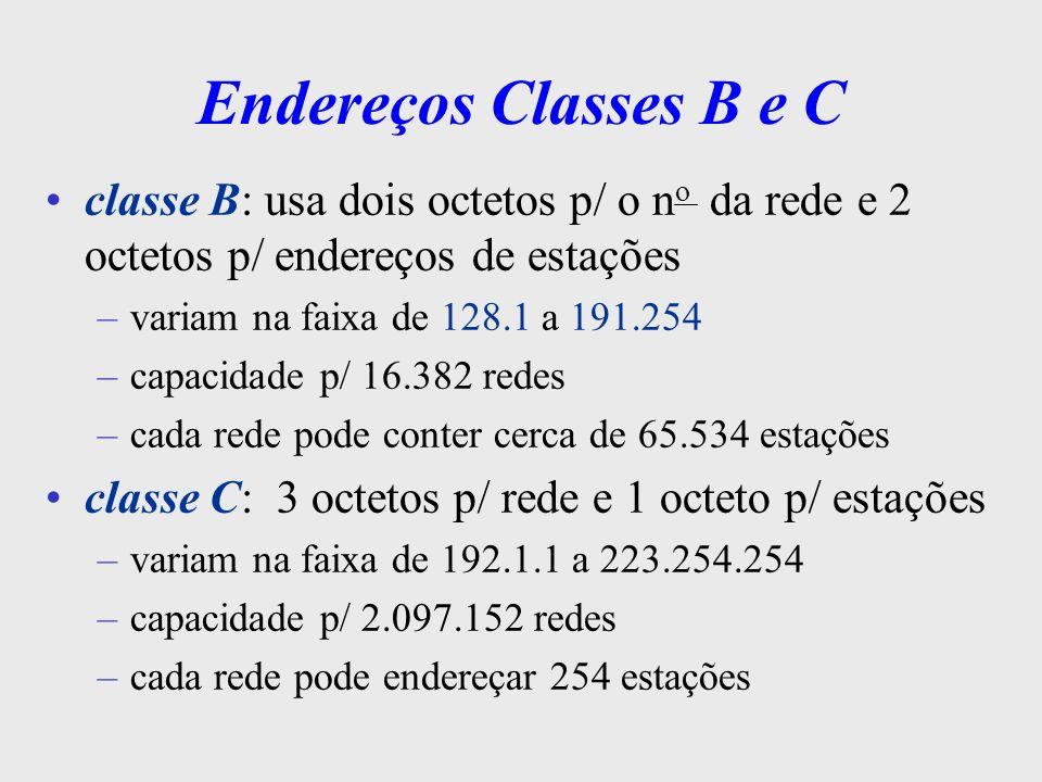 Endereços Classes D e E Classe D - usados p/ multidifusão –multidifusão: vários computadores em um mesmo segmento de LAN formação de grupos de computadores (ex.