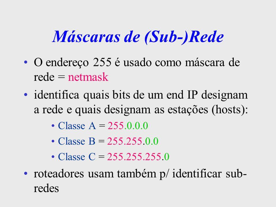 Máscaras de (Sub-)Rede P/ saber se 2 end IPs são da mesma rede ou de redes diferentes, faz-se uma operação AND binária c/ a máscara da rede se o resultado for o mesmo, os equipamentos estão na mesma rede 255.255.255.