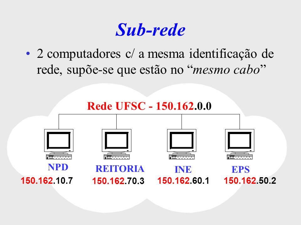 Sub-rede São apenas divisões internas são criadas pelo administrador de rede externamente são transparentes Rede UFSC 150.162.0.0 INE 150.162.60.0 Reitoria 150.162.70.0 Produção 150.162.50.0 NPD 150.162.10.0