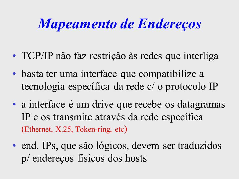 Mapeamento de Endereços Em redes Ethernet, o endereço MAC ( 48 bits) superior ao tamanho do endereço IP ( 32 bits ) e diferente também na estrutura do end IP End IP: 150.162.60.1 - 32 bits End MAC Ethernet: AACF34939900 - 48 bits