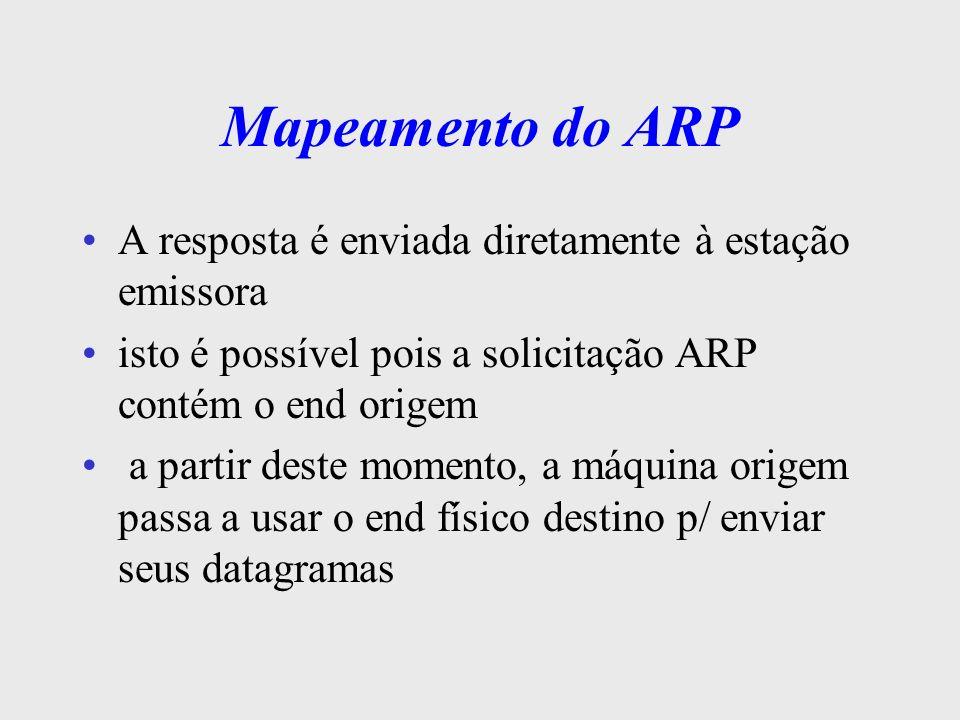 O Segredo do Mapeamento o uso de broadcast em uma LAN é oneroso todos os nós devem processar a msg ARP p/ minimizar o impacto, as estações aprendem os endereços armazenam todos os datagramas ARP recebidos quando enviar um datagrama, pesquisa em sua tabela ARP cache encontrando, não precisa efetuar o broadcast