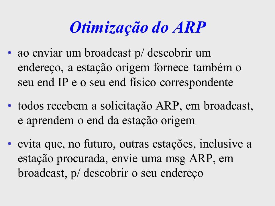 Reverse ARP - RARP soluciona o problema inverso ao do ARP: quando uma estação não conhece o seu end IP ex: o end IP de uma máquina é conservado na área de armazenamento secundário (HD) o S.O.