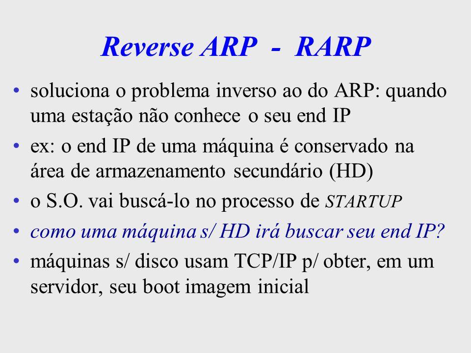 RARP utiliza o mesmo princípio básico do ARP uma estação que não conhece o seu próprio end IP, ou de uma outra estação, recupere-o a partir de seu endereço físico uma estação, denominada de servidora RARP, possui as informações de mapeamento de todas as estações da rede pode haver um ou mais servidores RARP primário e secundários - hierarquia de resposta