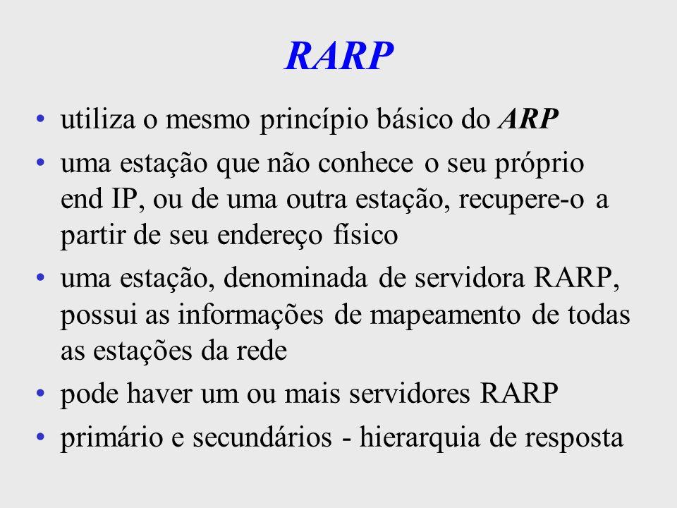 Protocolo ICMP Internet Control Message Protocol obrigatório em implementações da camada IP usado em transferências de mensagens entre roteadores e estações na rede Internet as msg s, em sua maioria, indicam a ocorrência de problemas no transporte de algum datagrama servem também p/ operações de controle