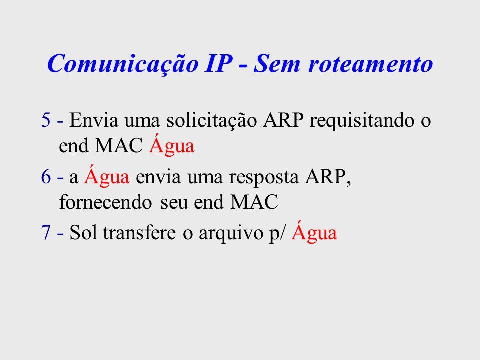 Comunicação IP - Com Roteamento Máscara de rede: 255.255.255.192 Nome do Host End MAC Ethernet End IP Sol AA2233445566 200.18.5.67 Tornado - eth0 BB2233445566 200.18.5.70 Tornado - eth1 CC2233445566 200.18.5.131 Água DD2233445566 200.18.5.130