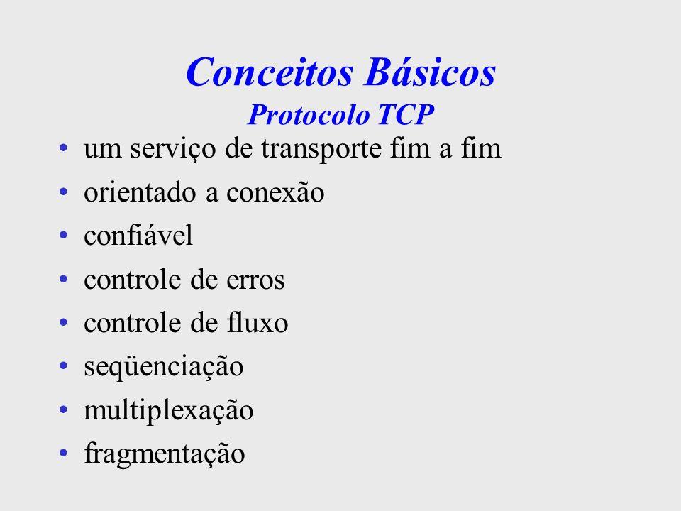 Conceitos Básicos Protocolo IP Serviço de rede não-orientado a conexão comutação de pacotes não confiável responsável pela entrega de datagramas garante a entrega a não ser por falhas de dimensionamento, recursos sobrecarregados ou falhas na rede física