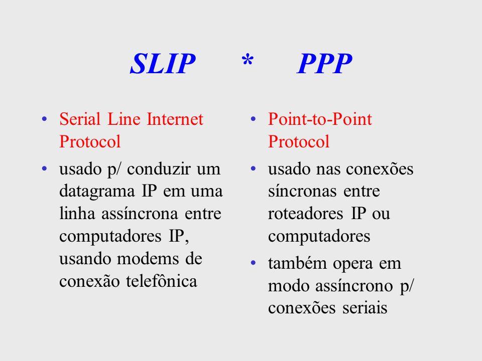 SLIP Usado em conexões seriais assíncronas via modems telefônicos (dial-up) bastante simples, protocolo de encapsulamento p/ o datagrama IP orientado a caracteres especiais hexa (C0h) é sensível a padrões de bits específicos dentro dos dados certos procedimentos de controle de fluxo podem causar problemas (XON, XOFF) requer 8 bits p/ transmissão de dados, sem paridade e o controle de fluxo é por hardware