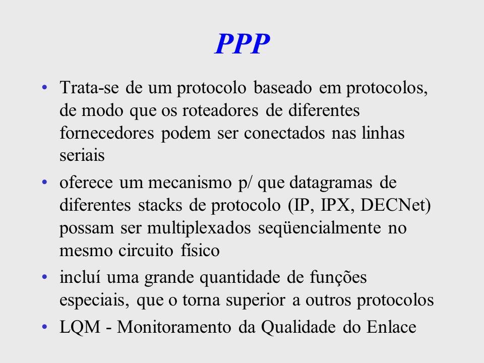 PPP - Recursos Método de enquadramento que apresenta a extremidade de um quadro e o início do outro sem nenhuma ambigüidade –o formato do quadro também lida c/ detecção de erros um protocolo de enlace que é usado p/ ativar linhas, testá-las, negociar opções e desativá-las novamente quando não forem mais necessárias.