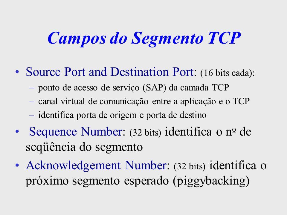 Campos do Segmento TCP Offset: (4 bits) tamanho do header TCP em número de 32 bits Reserved: (6 bits) reservado p/ uso futuro Flags: (6 bits) –URG: sinaliza um serviço urgente –ACK:envio de uma confirmação válida no cabeçalho –PSH:entrega de dados urgente à aplicação, s/ bufferização –RST: resetar a conexão –SYN:sincronizar o n o de seqüência –FIN: encerramento da conexão