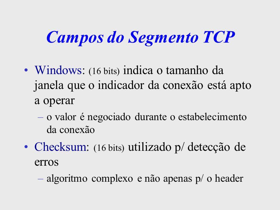 Campos do Segmento TCP Urgent Pointer: (16 bits) sinaliza à aplicação a presença de dados urgentes na mensagem, indicando a posição destes dados na mensagem Options (tamanho variável) oferece recursos extras, não previstos no header comum –ex.