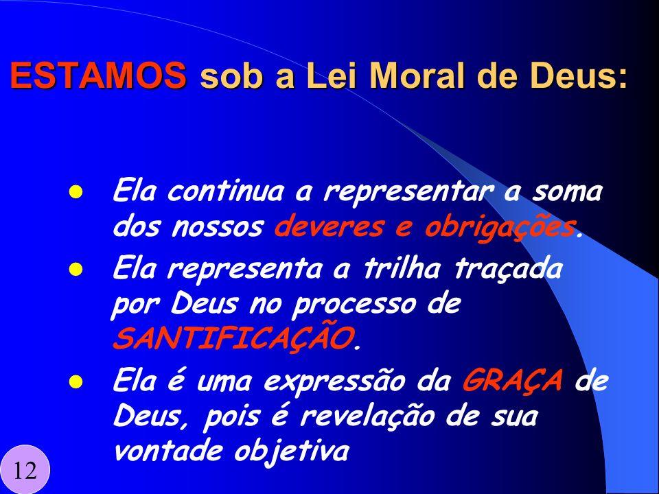 ESTAMOS sob a Lei Moral de Deus: Ela continua a representar a soma dos nossos deveres e obrigações. Ela representa a trilha traçada por Deus no proces