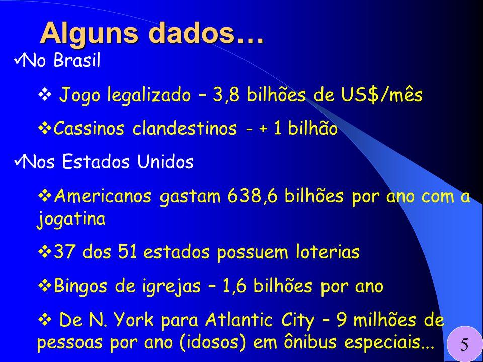 No Brasil Jogo legalizado – 3,8 bilhões de US$/mês Cassinos clandestinos - + 1 bilhão Nos Estados Unidos Americanos gastam 638,6 bilhões por ano com a