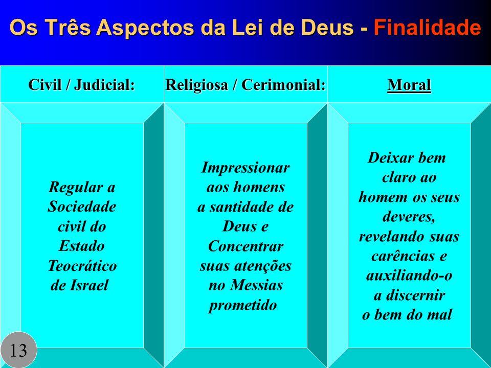 Os Três Aspectos da Lei de Deus - Finalidade Regular a Sociedade civil do Estado Teocrático de Israel Civil / Judicial: Impressionar aos homens a sant