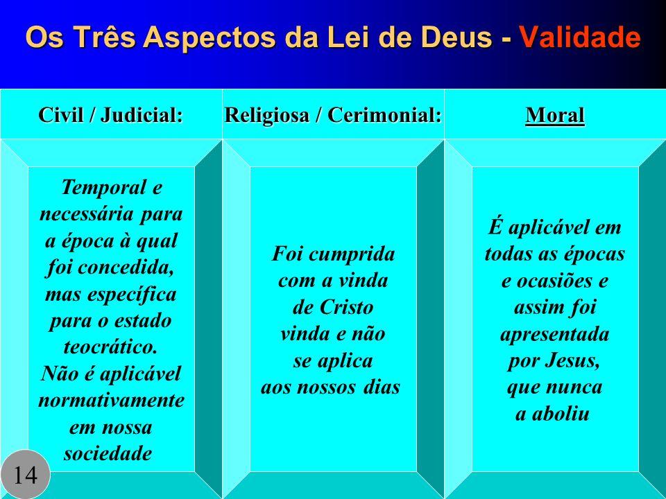 Os Três Aspectos da Lei de Deus - Validade Temporal e necessária para a época à qual foi concedida, mas específica para o estado teocrático. Não é apl