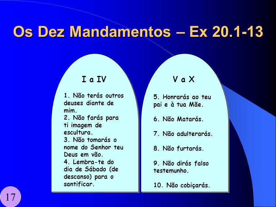 Os Dez Mandamentos – Ex 20.1-13 17 I a IV 1. Não terás outrosdeuses diante demim.2. Não farás parati imagem deescultura.3. Não tomarás onome do Senhor
