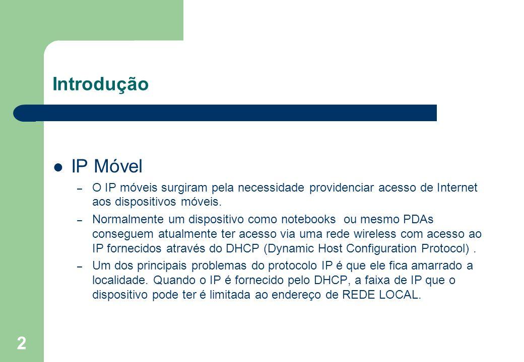 2 Introdução IP Móvel – O IP móveis surgiram pela necessidade providenciar acesso de Internet aos dispositivos móveis. – Normalmente um dispositivo co
