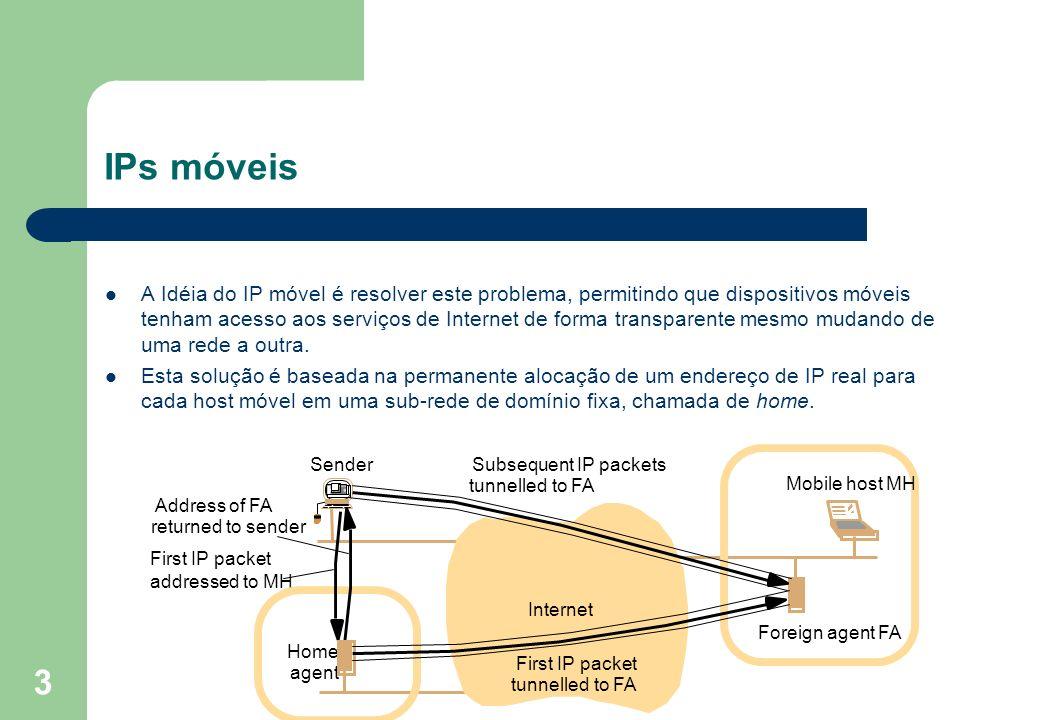 3 A Idéia do IP móvel é resolver este problema, permitindo que dispositivos móveis tenham acesso aos serviços de Internet de forma transparente mesmo