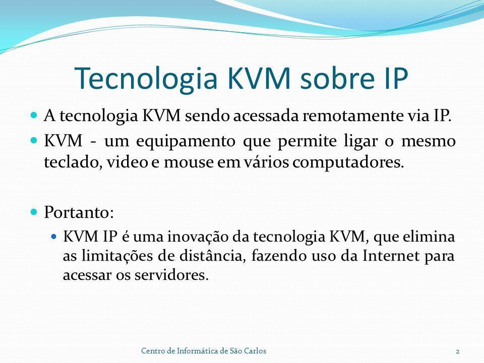 Tecnologia KVM sobre IP A tecnologia KVM sendo acessada remotamente via IP.