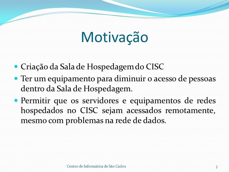 Motivação Criação da Sala de Hospedagem do CISC Ter um equipamento para diminuir o acesso de pessoas dentro da Sala de Hospedagem.