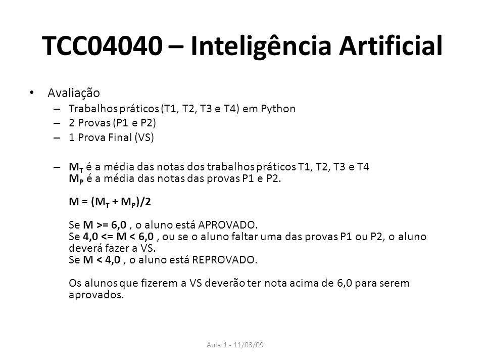 Aula 1 - 11/03/09 TCC04040 – Inteligência Artificial Avaliação – Trabalhos práticos (T1, T2, T3 e T4) em Python – 2 Provas (P1 e P2) – 1 Prova Final (
