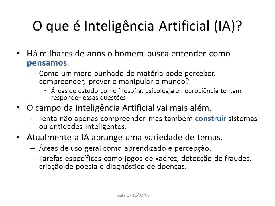 Aula 1 - 11/03/09 O que é Inteligência Artificial (IA)? Há milhares de anos o homem busca entender como pensamos. – Como um mero punhado de matéria po