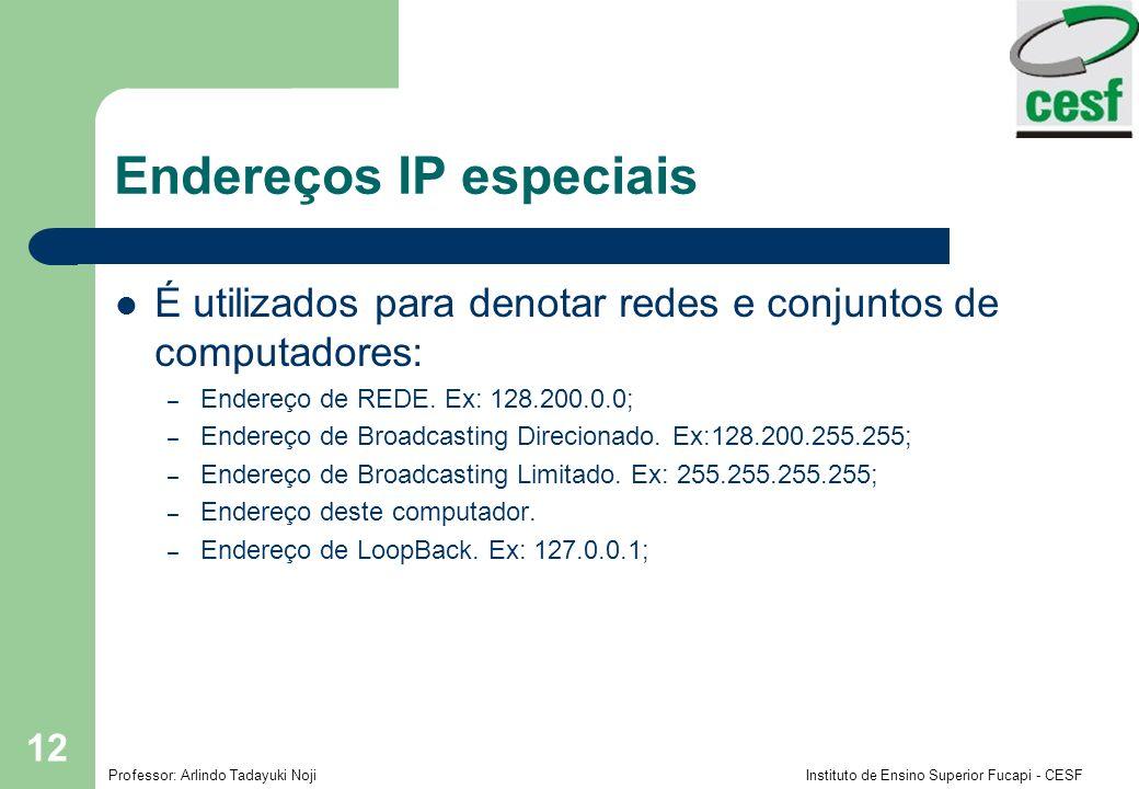 Professor: Arlindo Tadayuki Noji Instituto de Ensino Superior Fucapi - CESF 12 Endereços IP especiais É utilizados para denotar redes e conjuntos de c