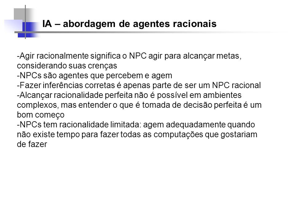 IA – abordagem de agentes racionais -Agir racionalmente significa o NPC agir para alcançar metas, considerando suas crenças -NPCs são agentes que perc