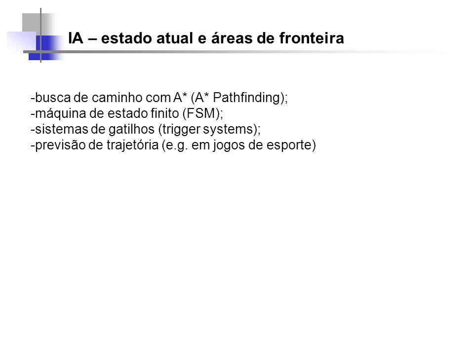 IA – estado atual e áreas de fronteira -busca de caminho com A* (A* Pathfinding); -máquina de estado finito (FSM); -sistemas de gatilhos (trigger syst
