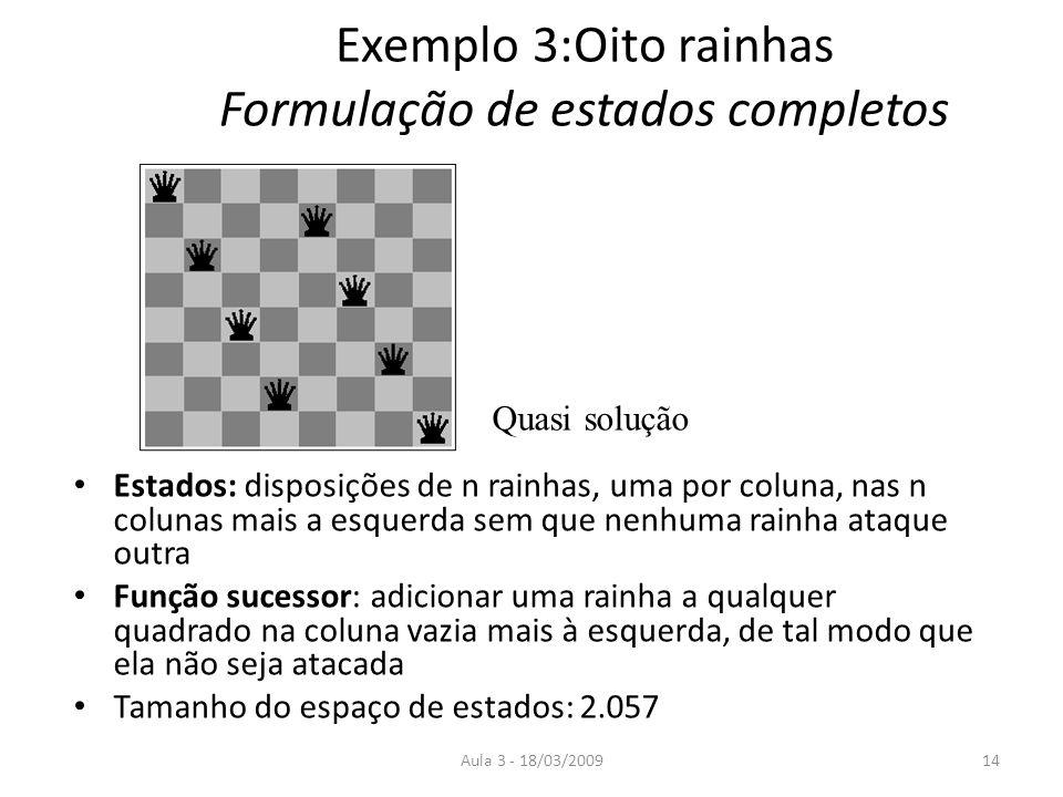 Aula 3 - 18/03/200914 Exemplo 3:Oito rainhas Formulação de estados completos Estados: disposições de n rainhas, uma por coluna, nas n colunas mais a e