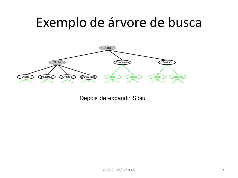 Aula 3 - 18/03/200919 Exemplo de árvore de busca Depois de expandir Sibiu