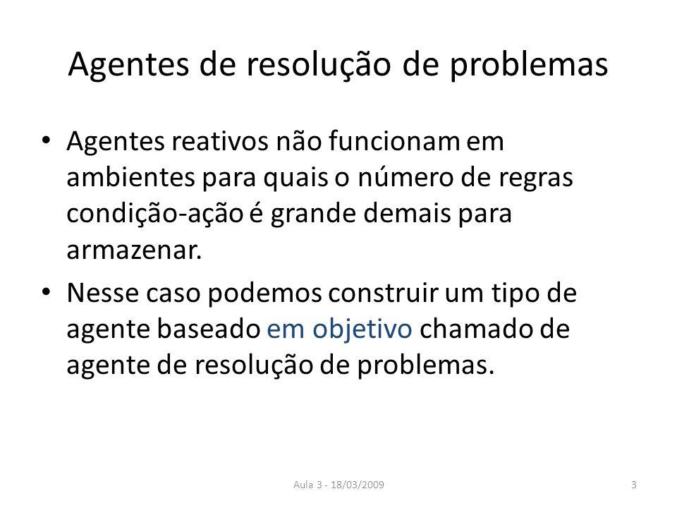 Aula 3 - 18/03/20093 Agentes de resolução de problemas Agentes reativos não funcionam em ambientes para quais o número de regras condição-ação é grand